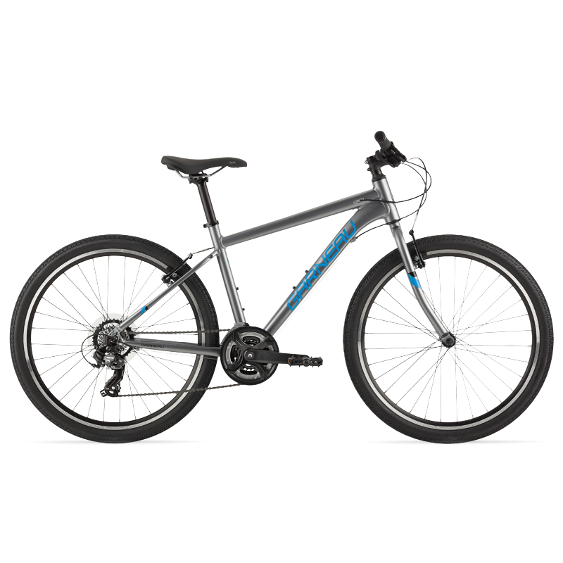 The Atom 26 is a modern kids' bike with a lightweight aluminum frame that offers extreme versatility. Its Shimano Tourney TY300 group set helps climbing big hills a breeze, and its durable brakes matched with 26'' wheels and slick tires make this great bike for riding on pavement and paths with confidence.