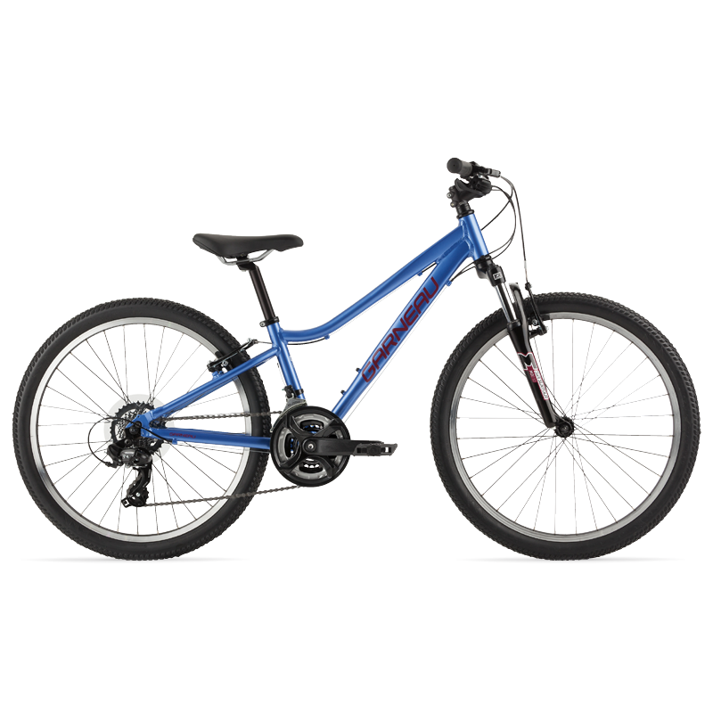 The Trust series of Garneau bikes offer all the necessities for your kid's first dedicated off-road mountain bike. The 241 is our girl's 24'' platform. It offers the same main benefits as its older sisters, like a 3 x 7 drivetrain, suspension in the fork to cushion her off-road riding, wide grippy tires and an aluminum frame for weight savings, and is size specific based on you child's height.