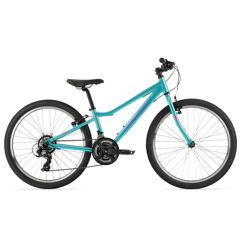 The Stella 24 is a modern kids' bike with a lightweight aluminum frame that offers extreme versatility. Its Shimano Tourney TY300 group set helps climbing big hills a breeze, and its durable brakes matched with 24'' wheels and slick tires make this great bike for riding on pavement and paths with confidence.