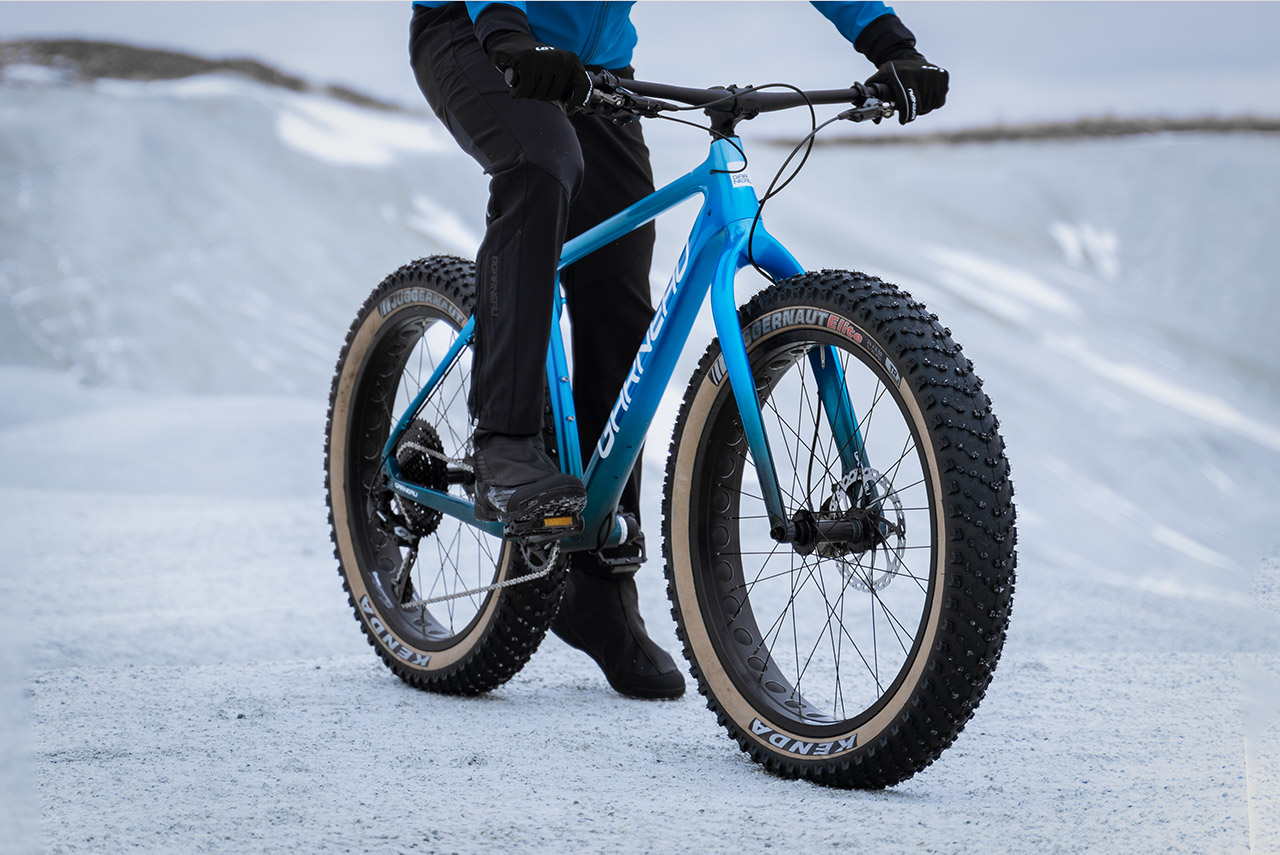 Riding a Fat bike in snow is not a problem with fat tires.