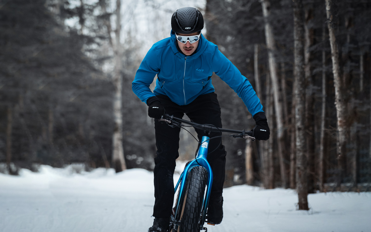 Man riding a Fat bike in cold  weather