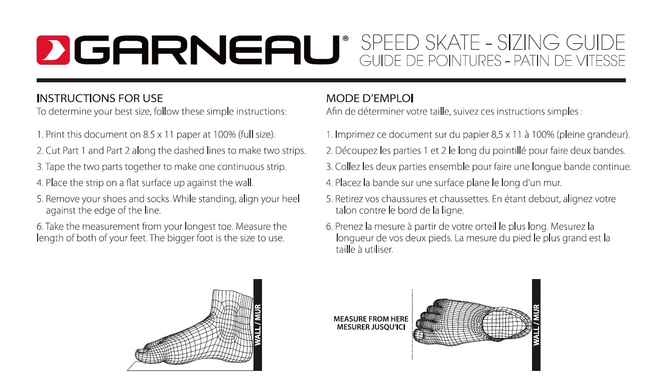 Sizing Chart Speed Skate