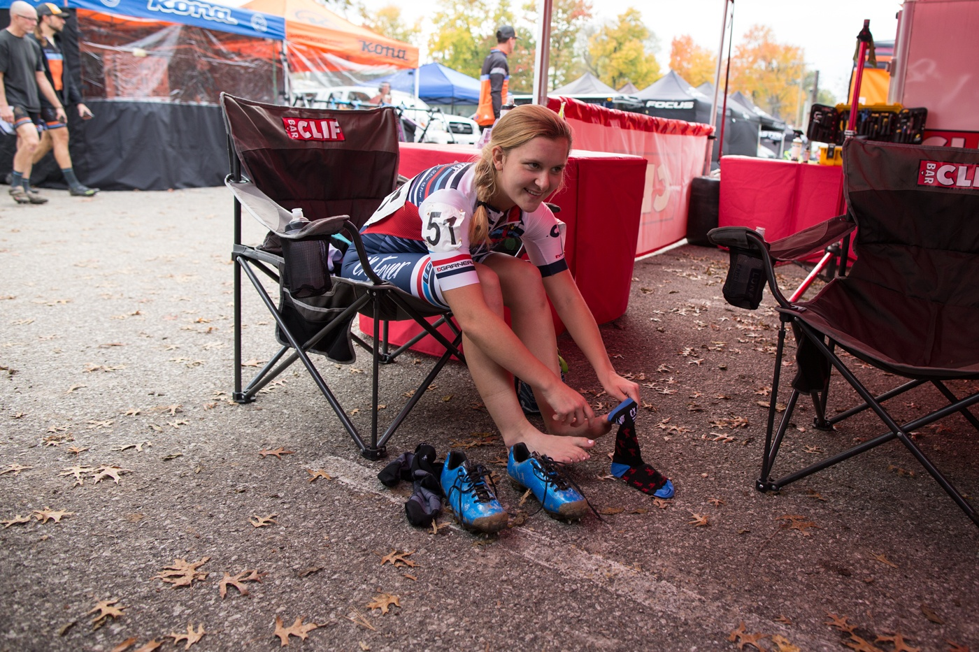 Hannah Bauer getting ready for the race!