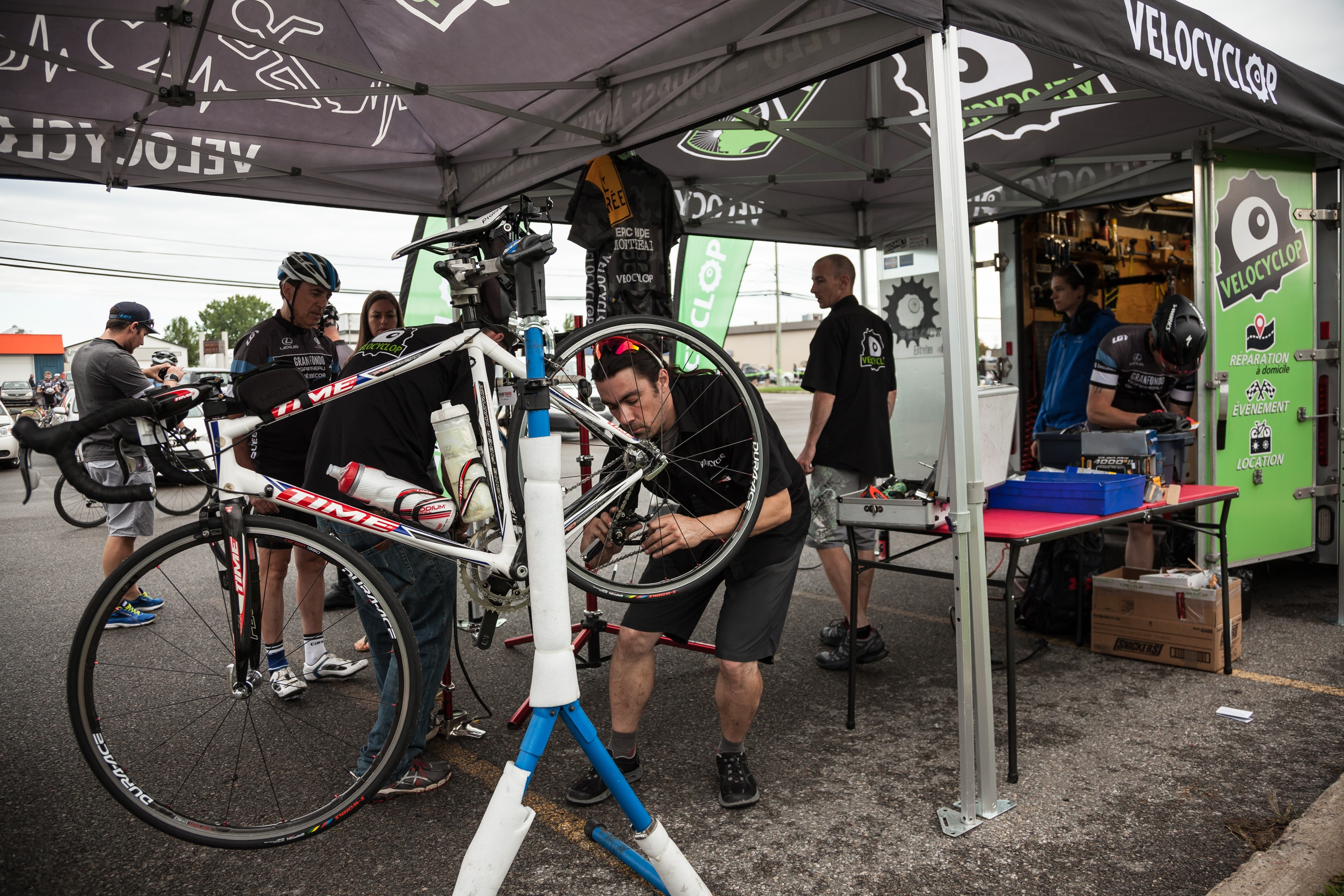 On-site maintenance and repair is essential during cycling events.
