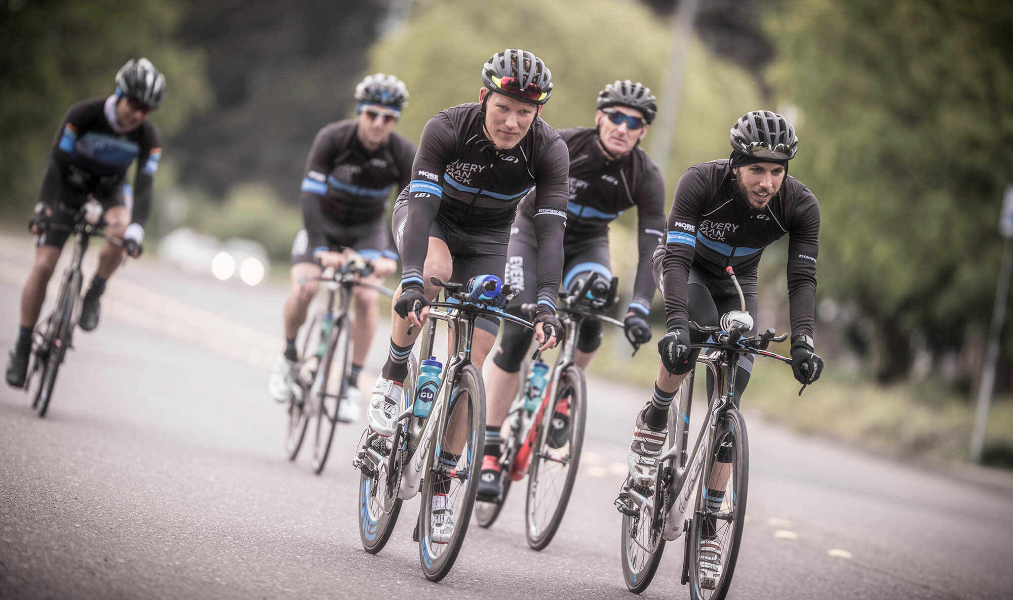 Every Man Jack Triarthlon Team on a training ride